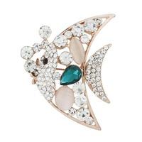 2015 New Fashion Rose Gold Fish High Quality Rhinestone Opal Brooches,Free shipping