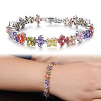 Hot Sale Korea Style Fashion Lady Imitation Rhodium Plated Colored Cubic Zirconia Four-leaf Clover Bracelet Free Shipping