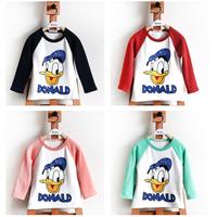 Brand Girls t shirt 2014 New Fashion Cartoon Donald Duck T Shirt girls 100% Cotton long-Sleeve Casual T-shirt free shipping