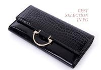 2015 new Women's crocodile pattern 3-fold wallets female long design wallet genuine leather day clutches handbags