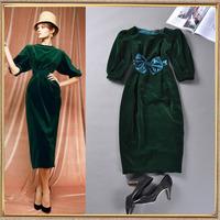 2014 autumn and winter women fashion vintage slim half sleeve one-piece dress medium-long velvet