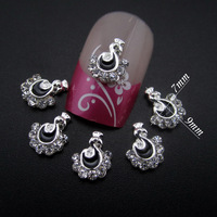 50pcs glitter nail charms black peacock nail designs rhinestones 3d nail art decoration MNS785H