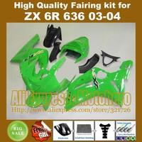 Injection mold Green fairings for KAWASAKI NINJA ZX6R 636 03-04 ZX-6R 2003-2004 6R 03 04 ZX 6R 2003 2004 fairing kit compression