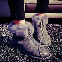 New Fashion Womens Winter Snow Ankle Boots Furry Flats Oxfords Punk Goth Shoes    us4 4.5 5 6 7 8 9 10 10.5 11