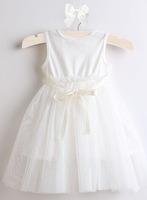 New arrival summer baby ivory & pink rose style formal birthday party dress, baby princess wedding dress