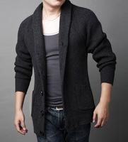 Fall/winter new style men's casual Cardigan thicken men's wide-lapel Wool Sweater coat