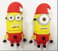 Free shipping 4GB 8GB 16GB 32GB christmas gift  pen drive Minions 2 red hat  usb 2.0 flash drive flash memory stick
