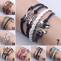 Women Vintage Owl Love Infinity Anchors Rudder Rectangle Leather Bracelet Multilayer bracelets&bangles