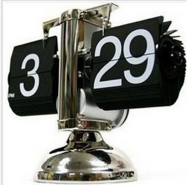 2015 Retro Modern Scale Digital Auto Flip Single Stand Metal Desk Table Clock Vintage(China (Mainland))