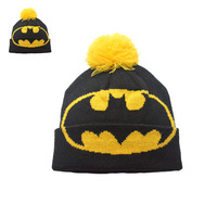 HOT! High Quality Baby Boys Cartoon Batman Knitted Beanies Kids Winter Warm Skullies Ball Hats Y-1323