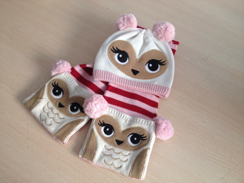 Unique Hot sales children hat scarf set lovely cartoon owl 100% cotton winter warm original Brand kids scarf for baby kids gift(China (Mainland))