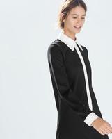 New Winter Women ZA Brand Peter pan Collar Long Sleeve Straight Wedding Dress Black White Patchwork Party Evening Vestidos q308