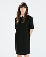 New Autumn Winter Women ZA Brand Turn-down Short Sleeve Plus Size Straight Wedding Dress Solid Black Party Evening Vestidos q310