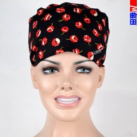 Matin medical caps for women black with flowers with SWEATBANDS