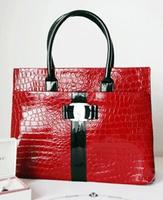 2014 New Patent Leather Crocodile Handbag Light Bright Surface High-grade Beauty Preferred Trend Fashion Handbags Free Shipping