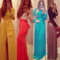 vestidos de festa 2014 Women Winter Dress Lace Patchwoke Dress  Side Slit  Elegant   Long Party Evening Dress vestidos femininos