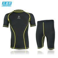 Men's Cycling clothing Jerseys riding running football basketball fitness training high elastic short-sleeve shorts set male