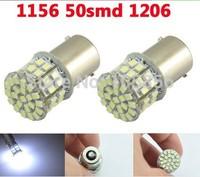 Free Shipping!!! 1156 BA15S 50 SMD 1206 Wedge Light Car Turn signal Brake light Led lamp 12V white 2pcs/lot