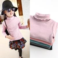 2015 children plus velvet basic shirt ruffle collar turtleneck long-sleeve plus velvet girl basic shirt thermal top