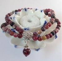 Free shipping, elegant pure natural tourmaline bracelet with garnet pendant,4mm beads,double circles bracelet for women