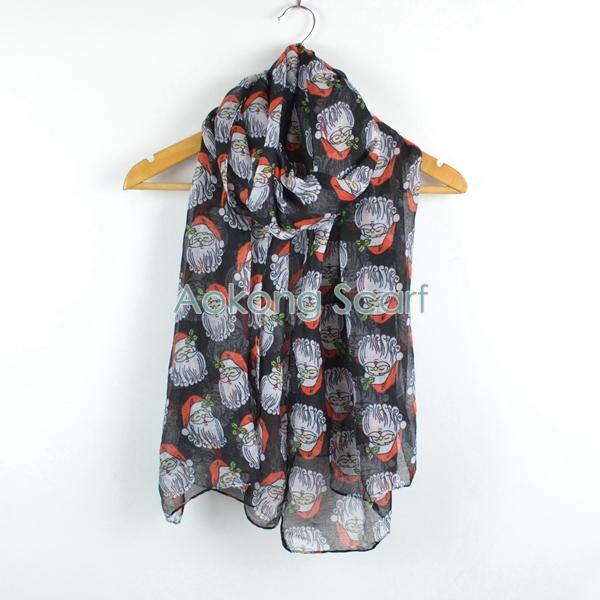 Lovely christmas santa claus printed viscose ladies xmas scarf(China (Mainland))