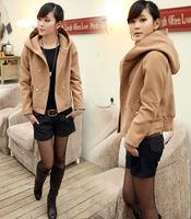 2014 NEW fashion Korean Sweet beauty waist woolen coat Thick warm winter coat