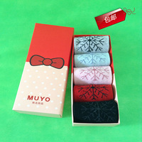Free shipping      Christmas snow  wool socks for girls /winter socks with gift box/  5pairs /box