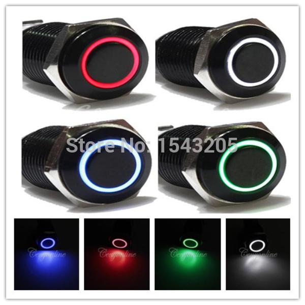 12V Car Aluminum Metal Switch Blue Green Red White LED Push Button Latching Push On Start Free Shipping(China (Mainland))