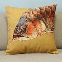 "Colorful Animal Fish Cotton Blend Linen Pillow Case Office Decor Cushion Cover Square 18"""