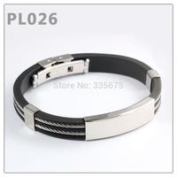 Wholesale New 2014 Fashion jewelry Punk silver Stainless Steel Cross Black Genuine Silicone Men Bracelet male Bangles 20PCS/LOT