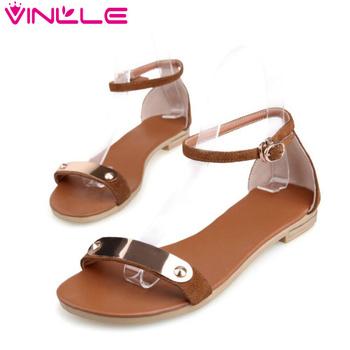 Vinlle 2015 мода из натуральной кожи женщин сандалии обувь летние квартиры сандалии ...