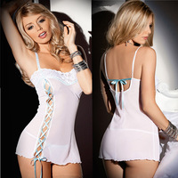 Sexy dress sexy women's European perspective of foreign trade sexy nightdress Nightgown white lace edged slit strap