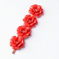Trendy Red Flower Vintage Jewelry Handmade Fashion Acrylic Bangles Women Alloy Charm Party Bracelets