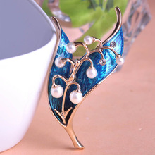 Esmalte De Unhas Fashion Women Leafs Collar Brooches Pins Shiny Enamel Brooch Wedding Jewellery Marriage Anniversary