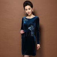 Plus sizes Velour Women Dress,Elegant Slim Korean velvet beaded embroidery long-sleeved winter dresses Free shipping S8220J