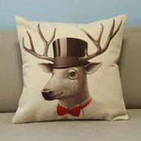 "Beige Cartoon Lovely Animals Deer Cotton Blend Linen Pillow Case Decor Cushion Cover Square 18"""