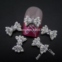 50pcs  Pearls Rhinestones 3d bows nail art decorations bow tie nail jewelry supplies MNS788