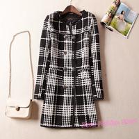 Spring Elegant Brand Plaid Black White Striped Long Knitted Women Woolen Coat, Autumn Office Lady Knitting Slim Jacket Suit Y564