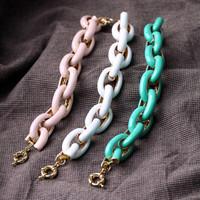 Trendy Round Vintage Acrylic Bangles Jewelry Handmade Women Alloy Charm Fashion Party Bracelets