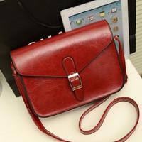 2014 all-match vintage one shoulder oil skin solid color women's handbag