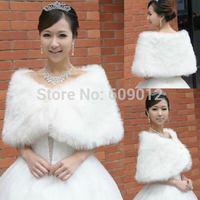AJ002  New Arrival Short  Shrug Fur Wrap Shawl Bridal Wedding Warm Winter Jacket Ivory White Red055