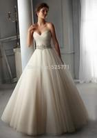 Sweetheart A Line Cheap Wedding Dresses China robe de mariage Beading Sash Organza Ivory Bridal Gowns 2014