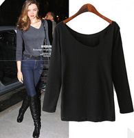 European New Brief All Match Girl Slim T Shirts 2 Colors Long Sleeve V Neck Women Casual Tops YS93548