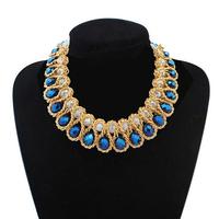 2014 Winner Design Women Alloy Winding Beads Luxury Statement Necklace Blue Crystal Choker Necklaces & Pendants 3 Clors
