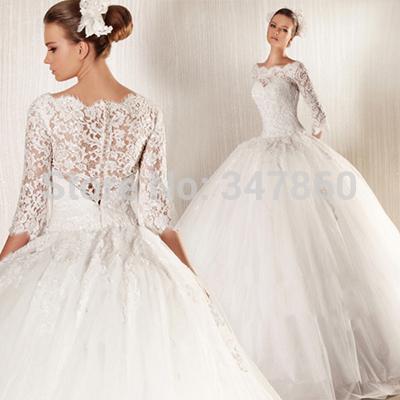 G113010 grátis frete líbano coréia sexy vestido de baile vestido de noiva manga longa apliques vestido de noiva barato Lace vestido de noiva(China (Mainland))