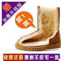 2014 waterproof winter snow women boots for women 100% genuine leather sheepskin top quality Brown Black Gray Khaki EU35-40