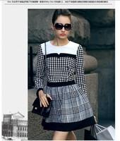 European Women Leisure Plaid Patchwork Casual Dress Super Star Autumn and Winter Dress 2014 New Fashion Female Vintage Dresses
