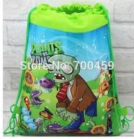 Free shipping 60pcs Plants vs. Zombies New Pattern Cartoon Printing Drawstring Backpack Kids School Shoulder Bag Shopping Bag