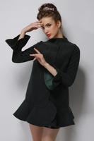 New Arrivals 2015 Fashion winter Women casual coat jacket flounced wool blend single breasted woolen coat parka brand clothing