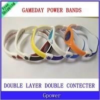 Hot sale!  Mix 5 Colors 3 Sizes double layer power  Basketball gameday Bracelet  Bands Energy balance bracelet  With Box